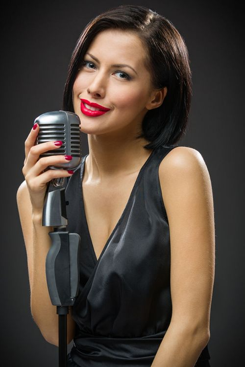 Close up lady microphone