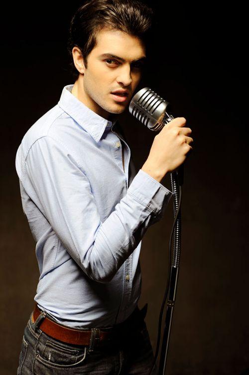 Close up man microphone