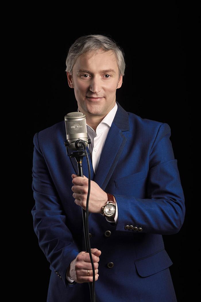 Elegant gentleman singing