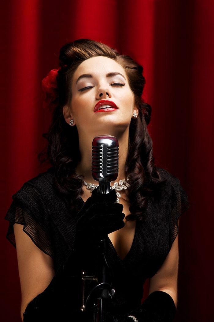 Lady vintage microphone