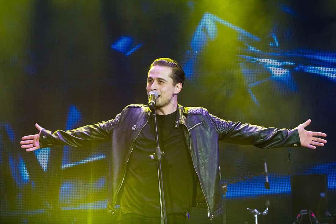 Pop singer on stage