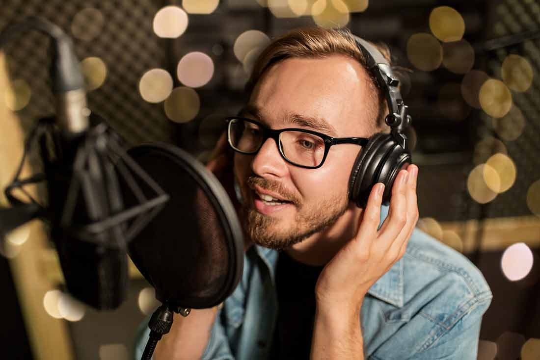 Man studying vocals
