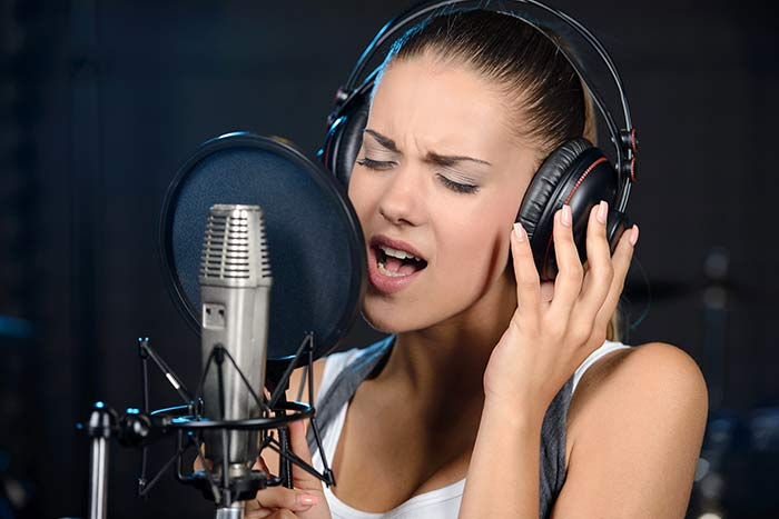 Lady practising her voice