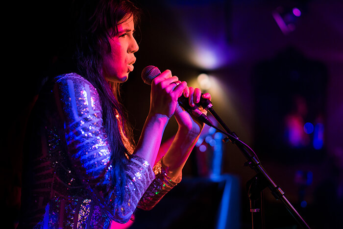 Singer performing