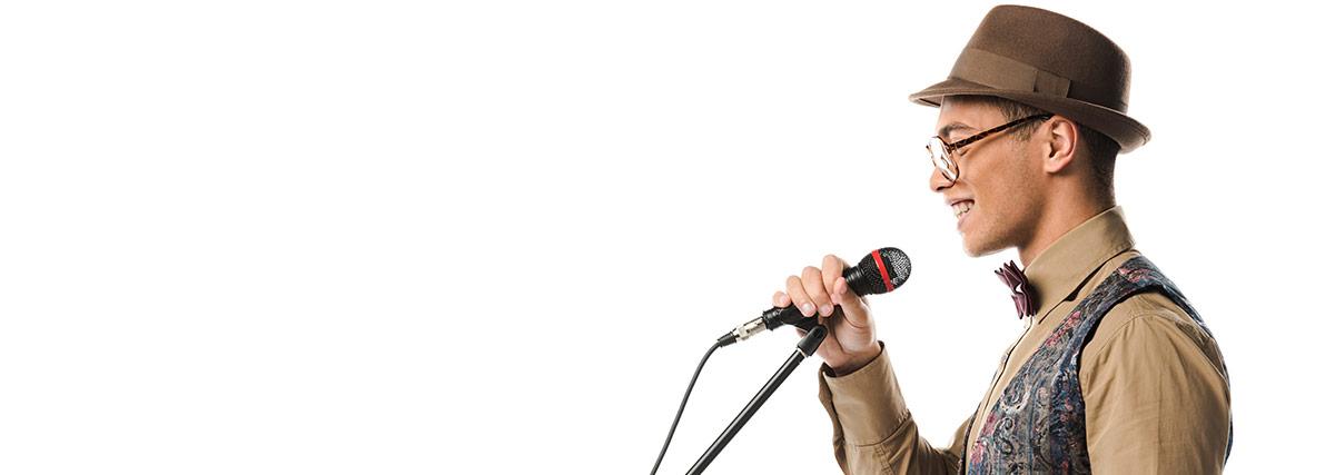 happy man singing
