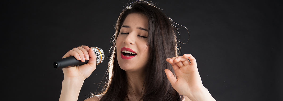 woman practice singing