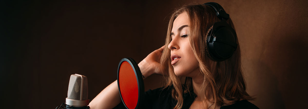 woman recording her voice