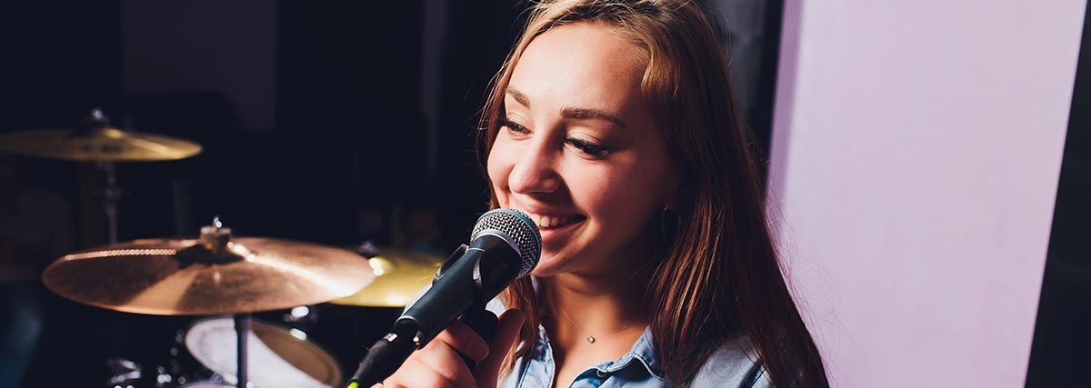 woman singing happily