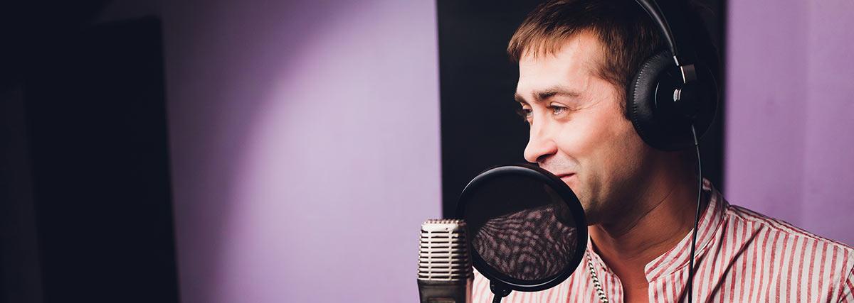 man inside the recording studio