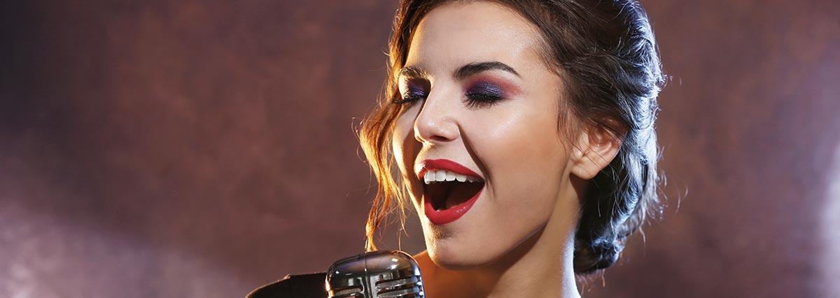 woman passionately singing