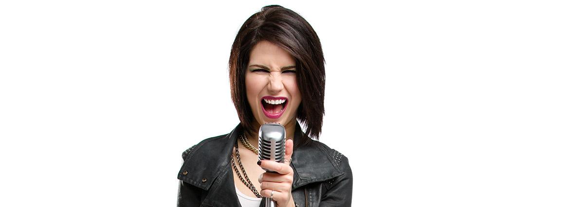 rock singer on white background
